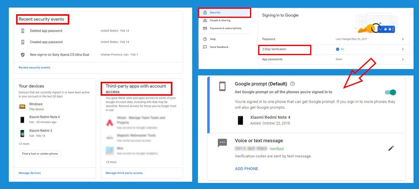 افزایش امنیت در اکانت گوگل