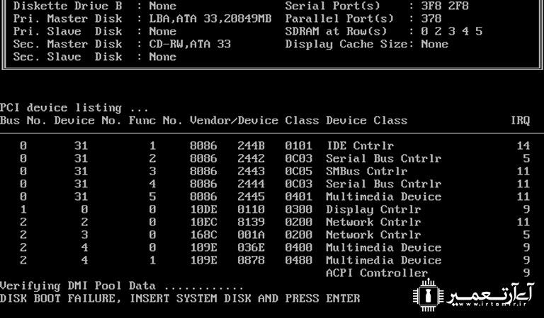 رفع مشکل Disk Boot Failure Insert System Disk